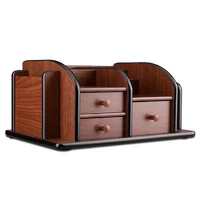 Wooden Desk Organizer W Drawers, Desktop Drawers Wood